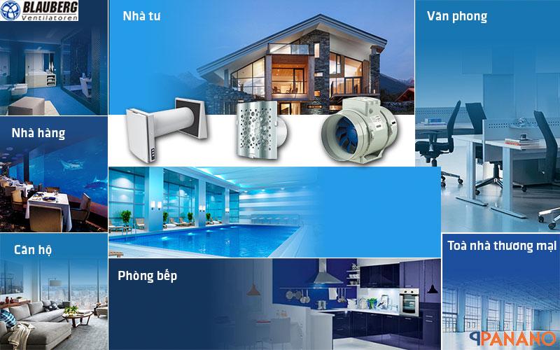 Quạt cấp khí tươi được ứng dụng trong nhiều không gian khác nhau